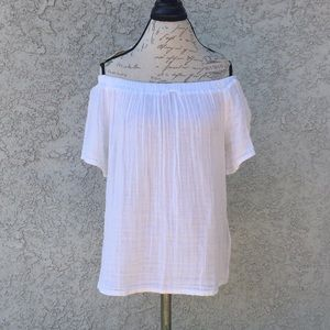 Michael Stars Off the Shoulder White Shirt Blouse